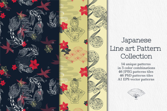 Line Art Japanese Pattern Collection Graphic Patterns By Tatyana_Zenartist