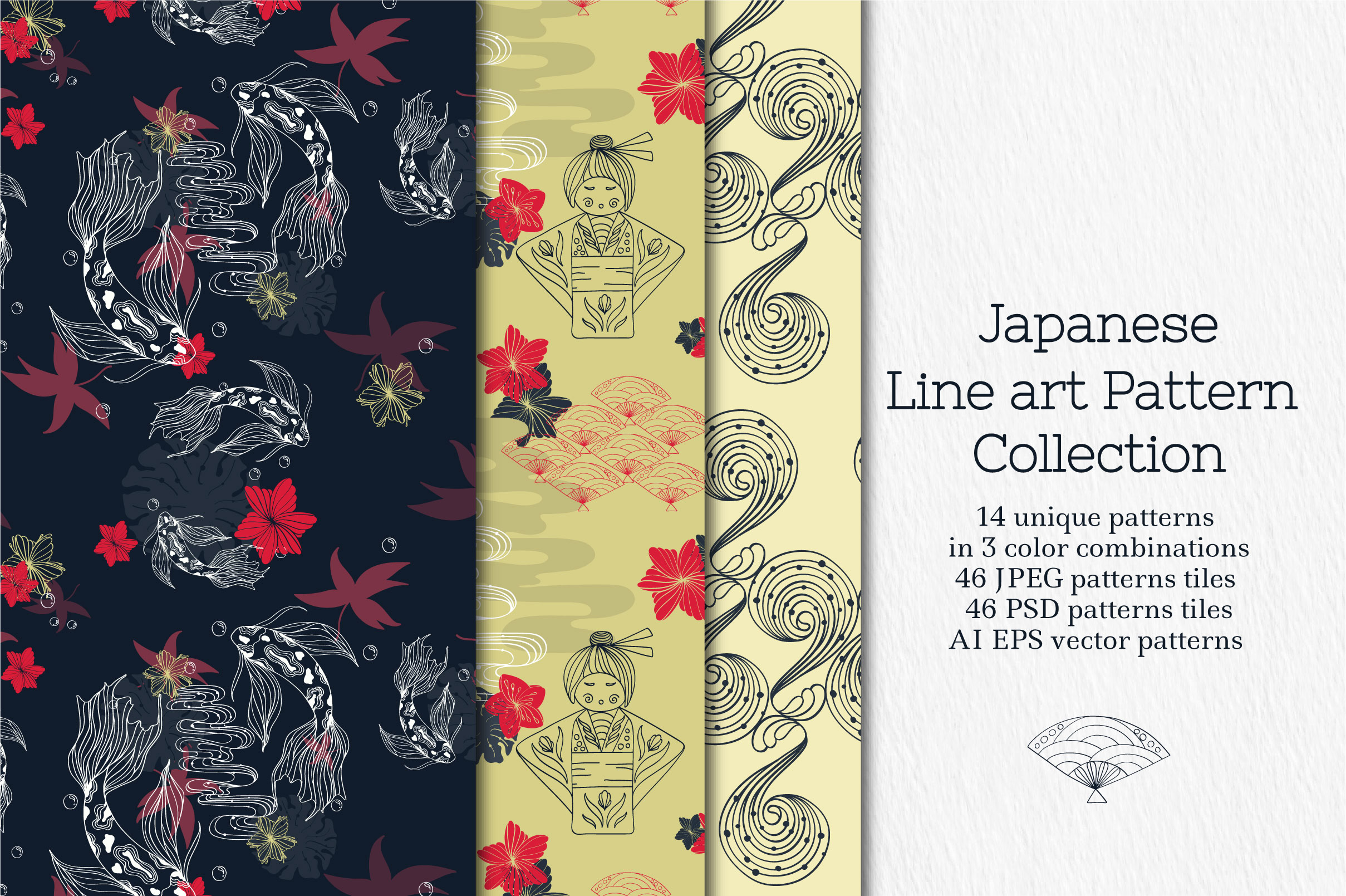 Line Art Japanese Pattern Collection Graphic By