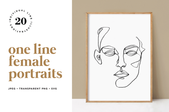 Minimalist One Line Female Portraits Graphic Illustrations By roughedgessupply