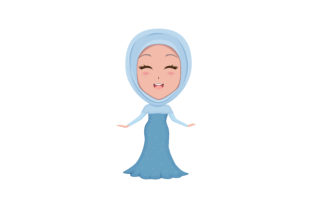 Download Free Muslim Girl Vector Illustration Graphic By Ngabeivector for Cricut Explore, Silhouette and other cutting machines.