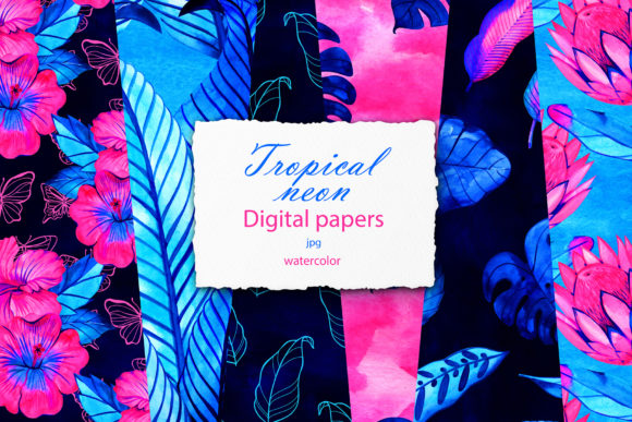 Neon Tropic Digital Paper Pack Graphic Illustrations By NataliMyaStore