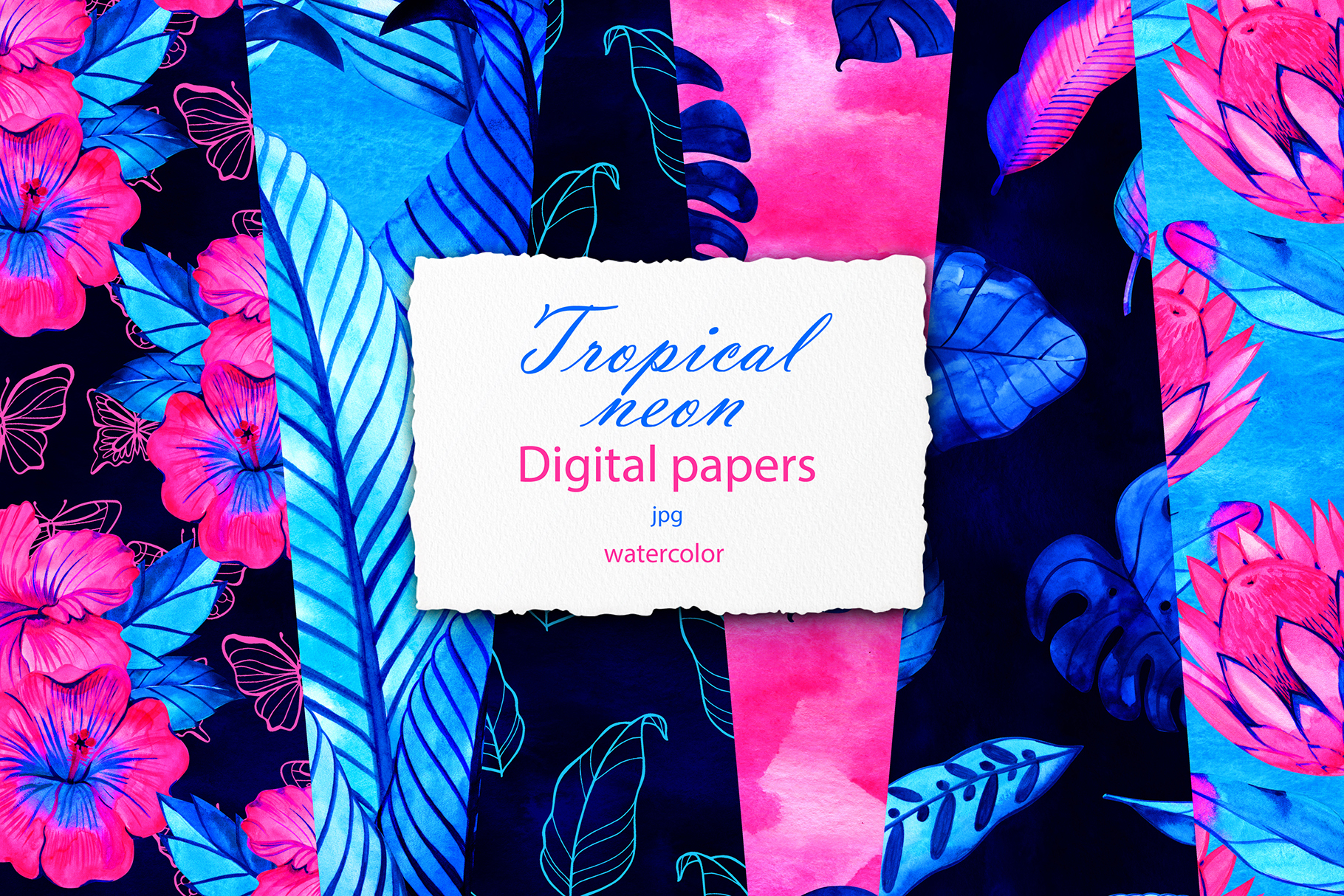 Download Free Neon Tropic Digital Paper Pack Graphic By Natalimyastore SVG Cut Files