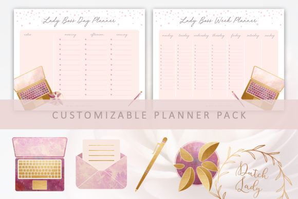 Print on Demand: PSD Lady Boss Planner Pack Template Graphic Print Templates By daphnepopuliers