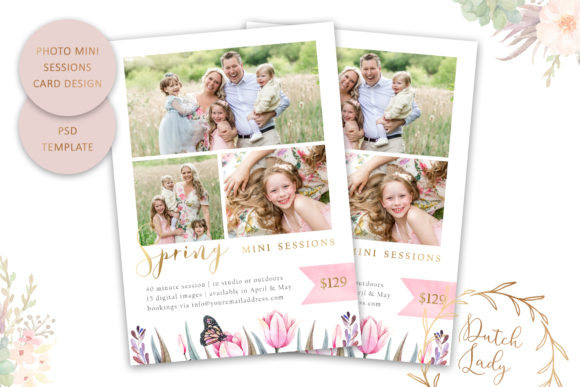Print on Demand: PSD Photo Session Card Template #59 Graphic Print Templates By daphnepopuliers