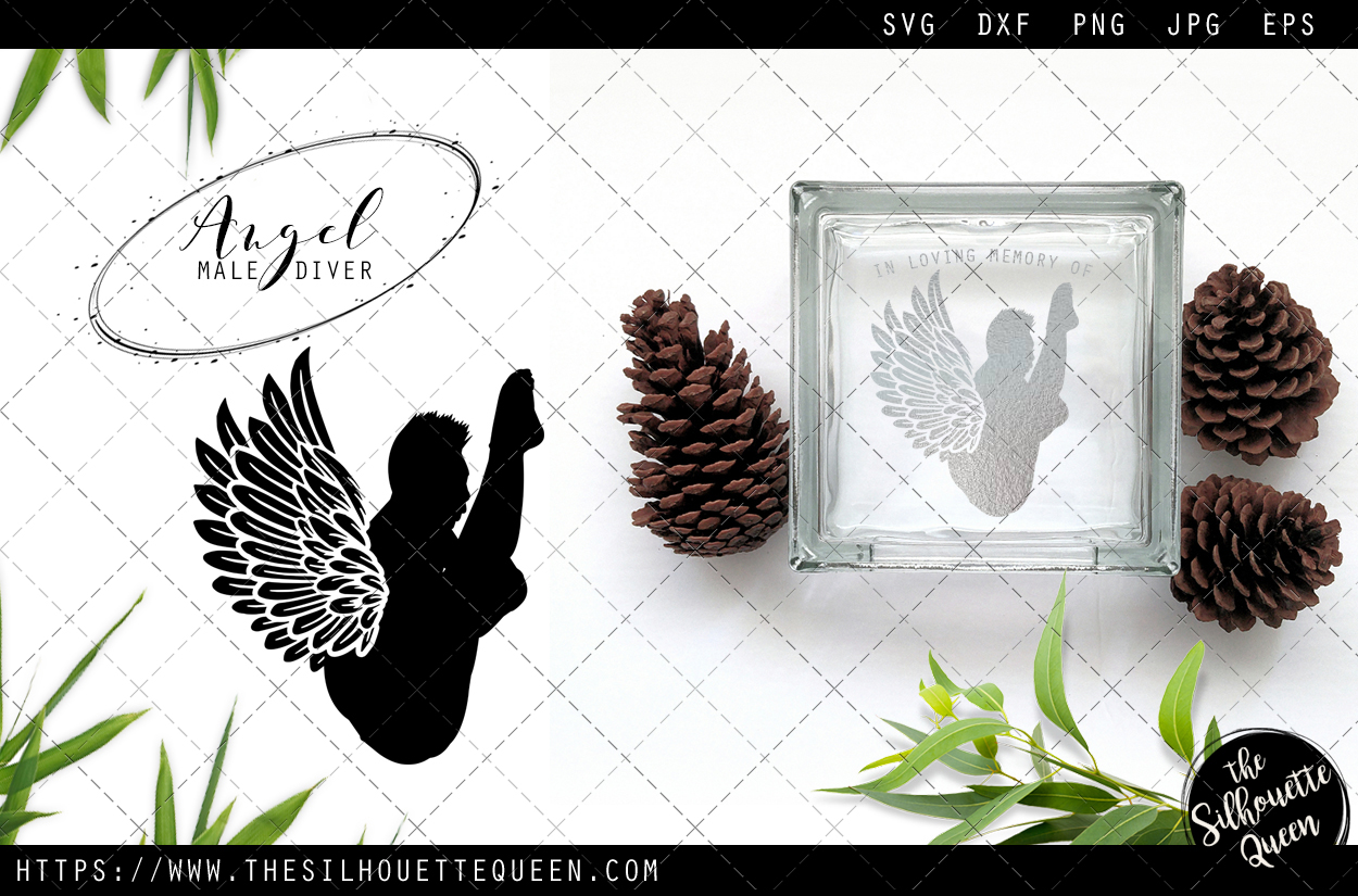 Download Free Rip Male Diver Memorial With Angel Wing Graphic By for Cricut Explore, Silhouette and other cutting machines.