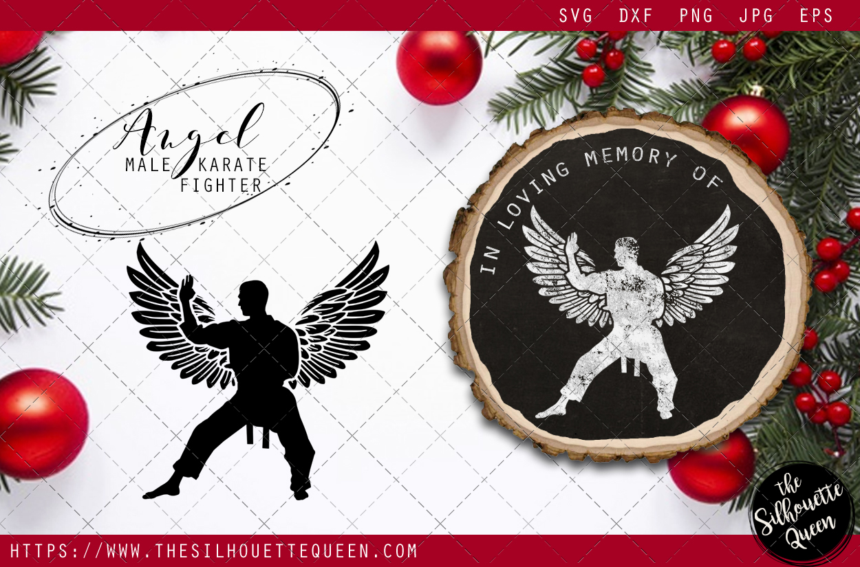 Download Free Rip Male Karate Fighter Memorial With Angel Wings Graphic By for Cricut Explore, Silhouette and other cutting machines.