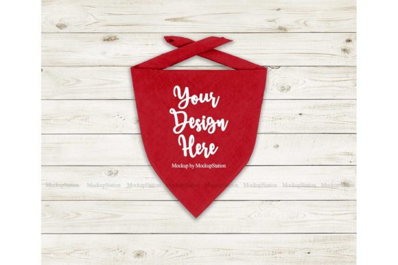 Print on Demand: Red Dog Bandana Mockup Graphic Product Mockups By Mockup Station