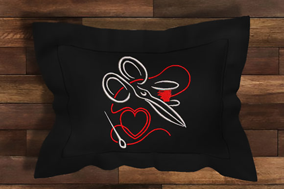 Scissors and Thread Heart Sewing & Crafts Embroidery Design By Embroidery Shelter - Image 1