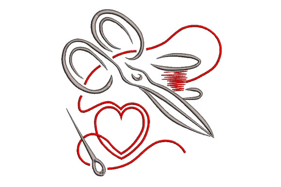 Scissors and Thread Heart Sewing & Crafts Embroidery Design By Embroidery Shelter - Image 2