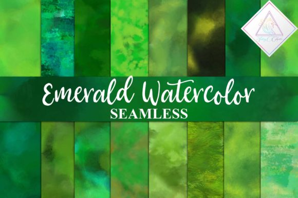 Print on Demand: Seamless Emerald Watercolor Graphic Textures By fantasycliparts