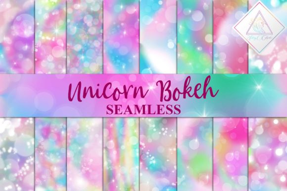 Print on Demand: Seamless Unicorn Bokeh Digital Paper Graphic Textures By fantasycliparts