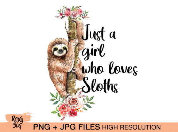 Print on Demand: Sloth on Tree with Flowers Graphic Crafts By roxysvg26 - Image 1