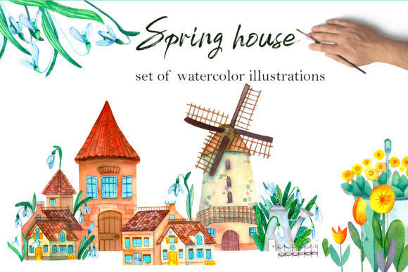 Print on Demand: Spring Houses Graphic Illustrations By ElenaZlataArt