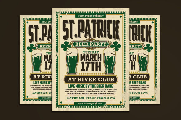 St Patricks Day Beer Party Graphic Print Templates By muhamadiqbalhidayat