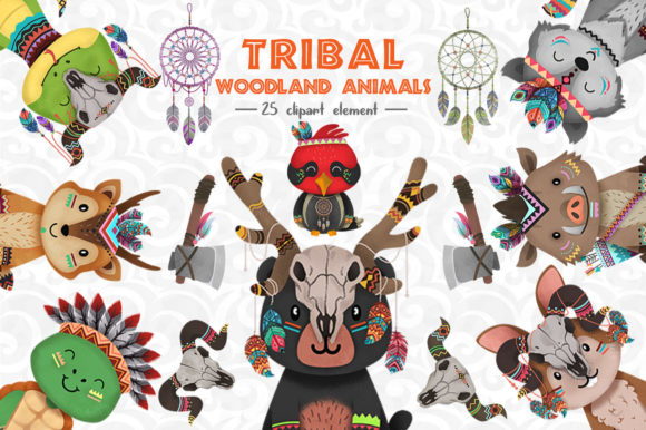 Print on Demand: Tribal Woodland Animal Clipart Set 3 Graphic Illustrations By accaliadigital