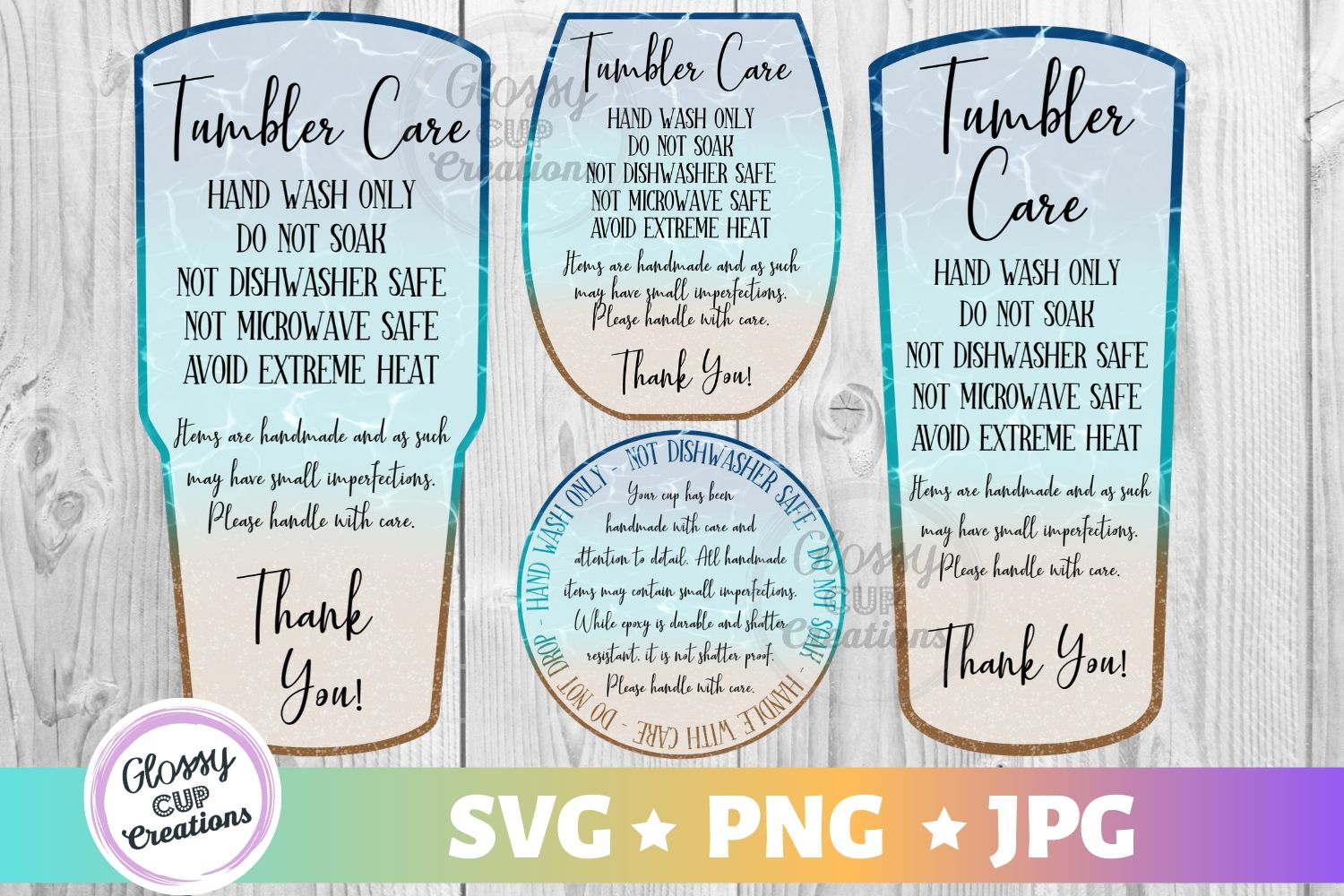 Download Free Tumbler Care Cards Beach Design 4 Pack Graphic By Suzannecornejo for Cricut Explore, Silhouette and other cutting machines.