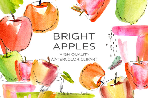 Print on Demand: Watercolor Apple Clipart, Bright Apples Graphic Illustrations By MariaScaroniAtelier