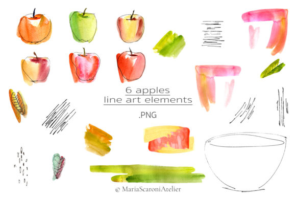 Download Free Watercolor Apple Clipart Bright Apples Graphic By for Cricut Explore, Silhouette and other cutting machines.