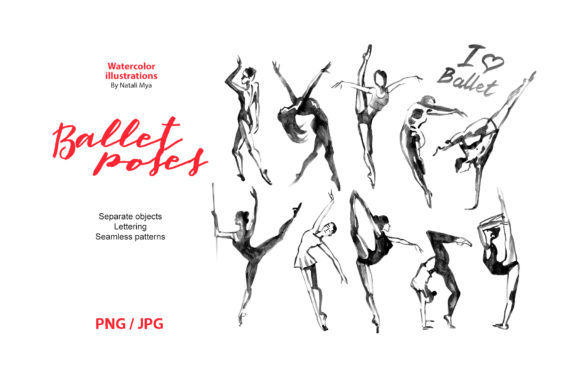Watercolor Ballet Poses Digital Cliparts Graphic Illustrations By NataliMyaStore