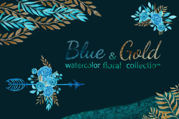 Print on Demand: Watercolor Blue and Gold Floral Set Graphic Illustrations By s.yanyeva