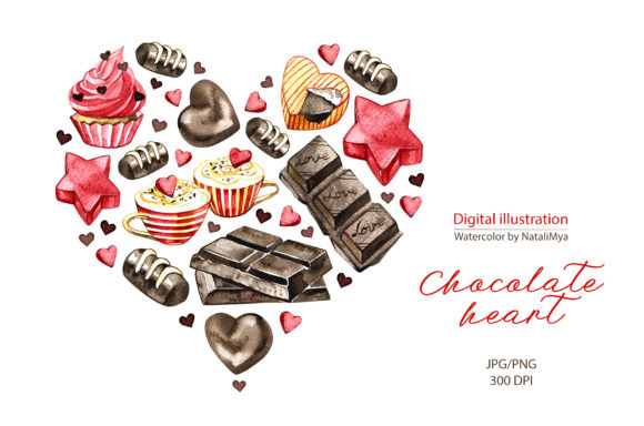Watercolor Chocolate Heart Clipart Graphic Illustrations By NataliMyaStore - Image 1