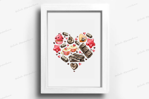 Watercolor Chocolate Heart Clipart Graphic Illustrations By NataliMyaStore - Image 4