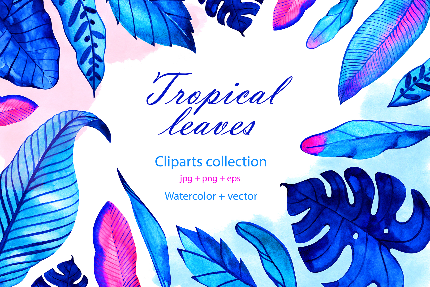 Download Free Watercolor Digital Neon Tropical Leaves Graphic By for Cricut Explore, Silhouette and other cutting machines.