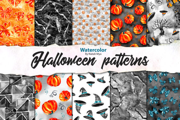 Watercolor Halloween Pattern Paper Pack Graphic Patterns By NataliMyaStore
