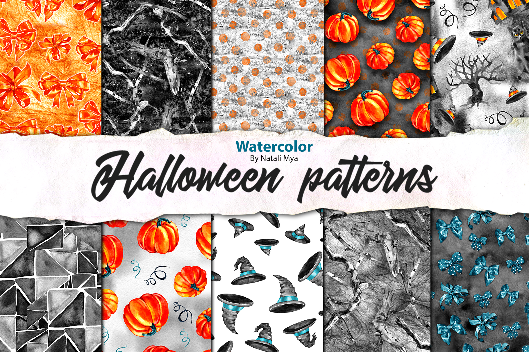 Download Free Watercolor Halloween Pattern Paper Pack Graphic By Natalimyastore Creative Fabrica for Cricut Explore, Silhouette and other cutting machines.