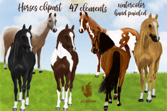 Watercolor Horse Clipart,Horse Breeds Grafik Illustrationen von LeCoqDesign