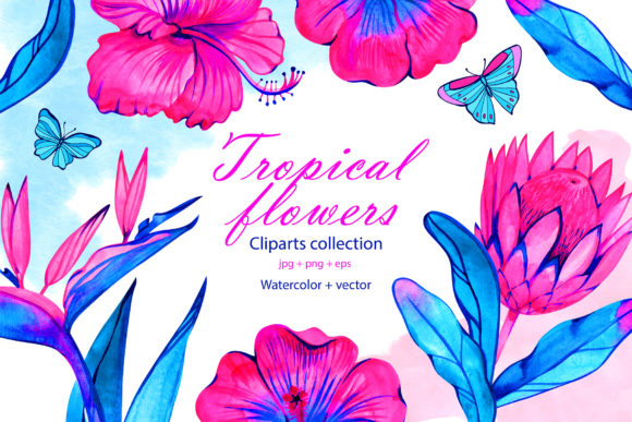 Watercolor Neon Tropical Flowers Graphic Illustrations By NataliMyaStore