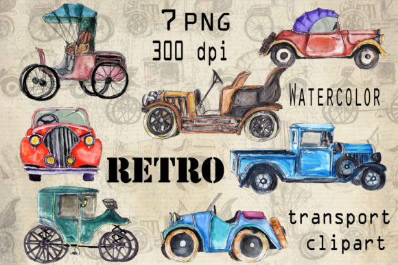 Watercolor Set of Retro Cars Graphic Illustrations By arevkasunshine