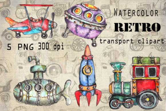 Watercolor Set of Retro Transport Graphic Illustrations By arevkasunshine