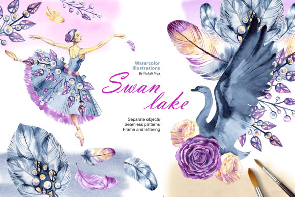 Watercolor Swan Lake Graphic Illustrations By NataliMyaStore