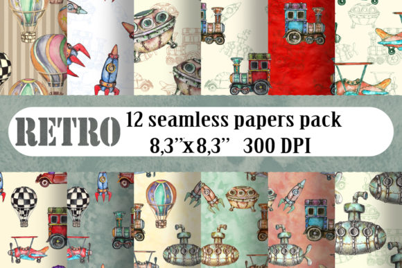 Watercolor Transport Patterns Set Graphic Patterns By arevkasunshine