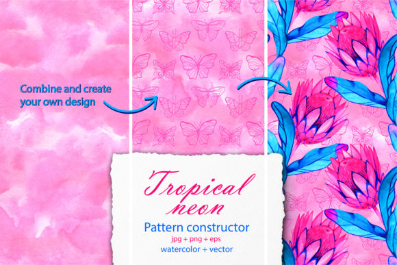 Watercolor Tropic Neon Seamless Patterns Graphic By
