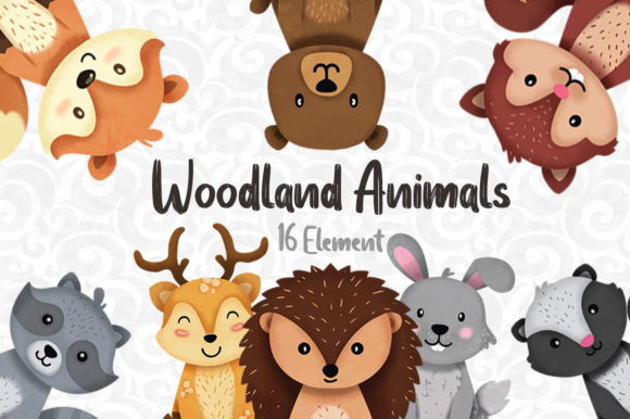 Print on Demand: Woodland Animals Clipart Set 1 Gráfico Ilustraciones Por accaliadigital