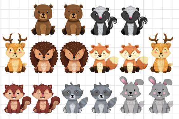 Print on Demand: Woodland Animals Clipart Set 1 Graphic Illustrations By accaliadigital - Image 2