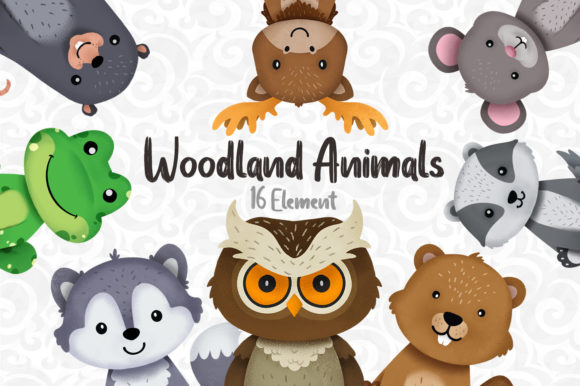 Woodland Animals Clipart Set 2 Graphic Illustrations By accaliadigital