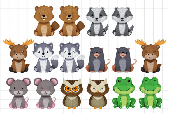 Print on Demand: Woodland Animals Clipart Set 2 Graphic Illustrations By accaliadigital - Image 2