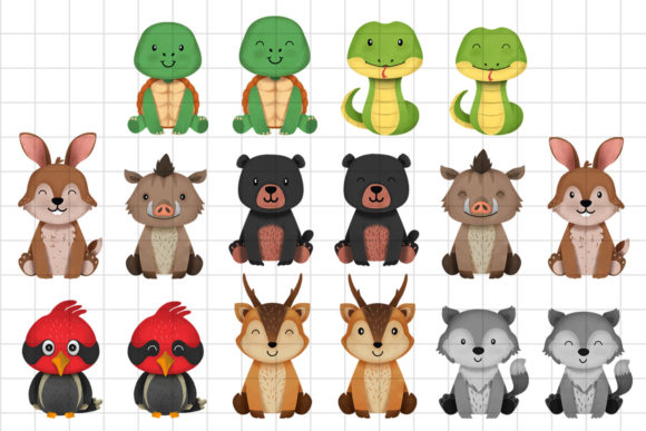 Print on Demand: Woodland Animals Clipart Set 3 Graphic Illustrations By accaliadigital - Image 2