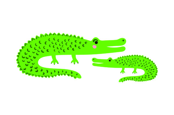 Mom and Baby Alligators Animals Craft Cut File By Creative Fabrica Crafts