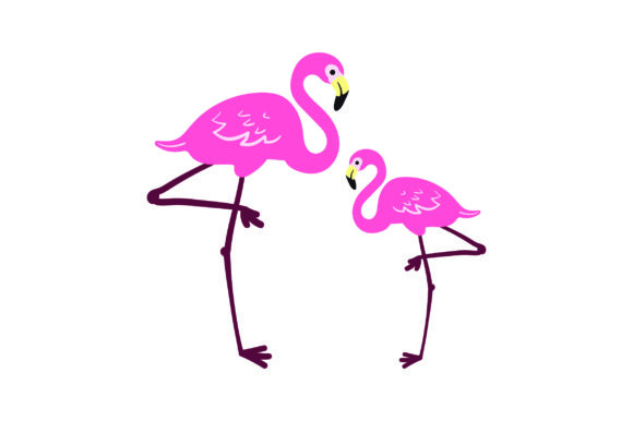 Mom and Baby Flamingos Animals Craft Cut File By Creative Fabrica Crafts