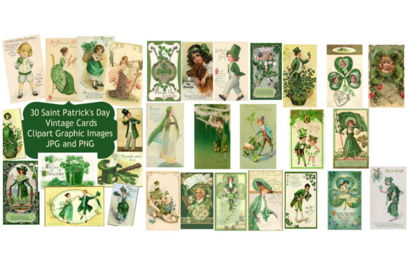 Print on Demand: 30  Saint Patrick's Day Card Images Graphic Illustrations By Scrapbook Attic Studio