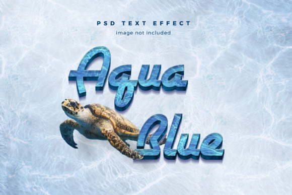 Print on Demand: Aqua Blue 3d Text Effect Template Graphic Layer Styles By diqtam