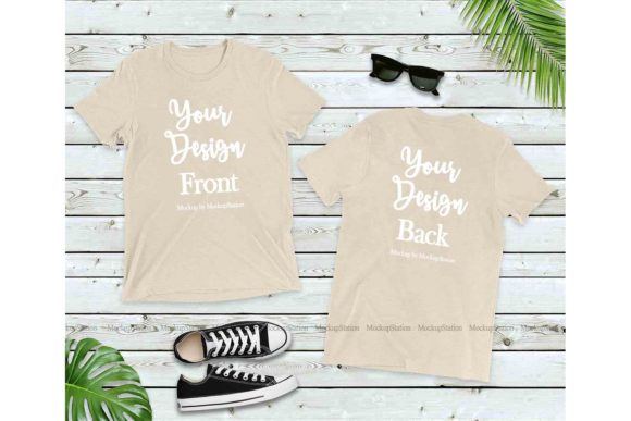 Print on Demand: Bella Canvas Oatmeal Triblend Tee Graphic Product Mockups By Mockup Station