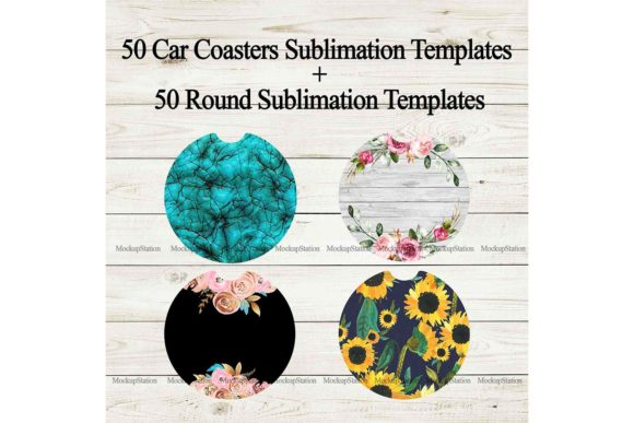 Print on Demand: Car Coaster Sublimation Template Bundle Graphic Print Templates By Mockup Station