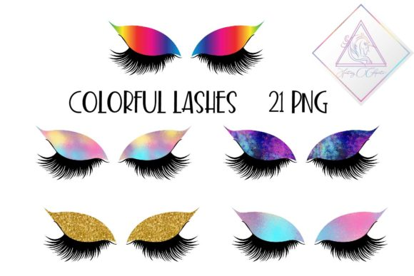 Print on Demand: Colorful Lashes Clipart Graphic Illustrations By fantasycliparts