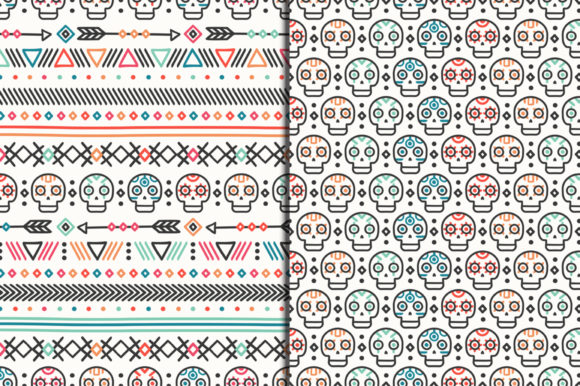 Day of the Dead Patterns with Skulls Graphic Patterns By kroljastock