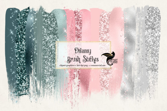 Dreamy Brush Strokes Clipart Grafik Objekte von Digital Curio